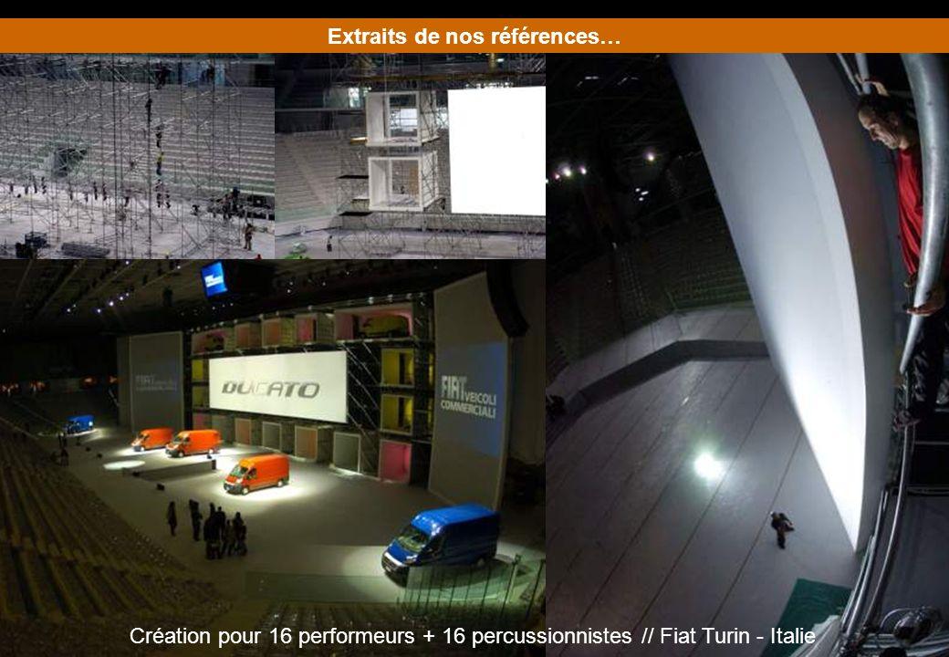 Extraits de nos références… Création pour 16 performeurs + 16 percussionnistes // Fiat Turin - Italie