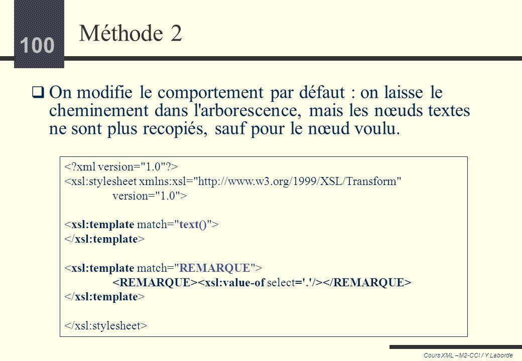 99 Cours XML –M2-CCI / Y.Laborde 99 Méthode 1 Laisser le comportement par défaut, mais utiliser @select pour mener directement sur les REMARQUE <xsl:s