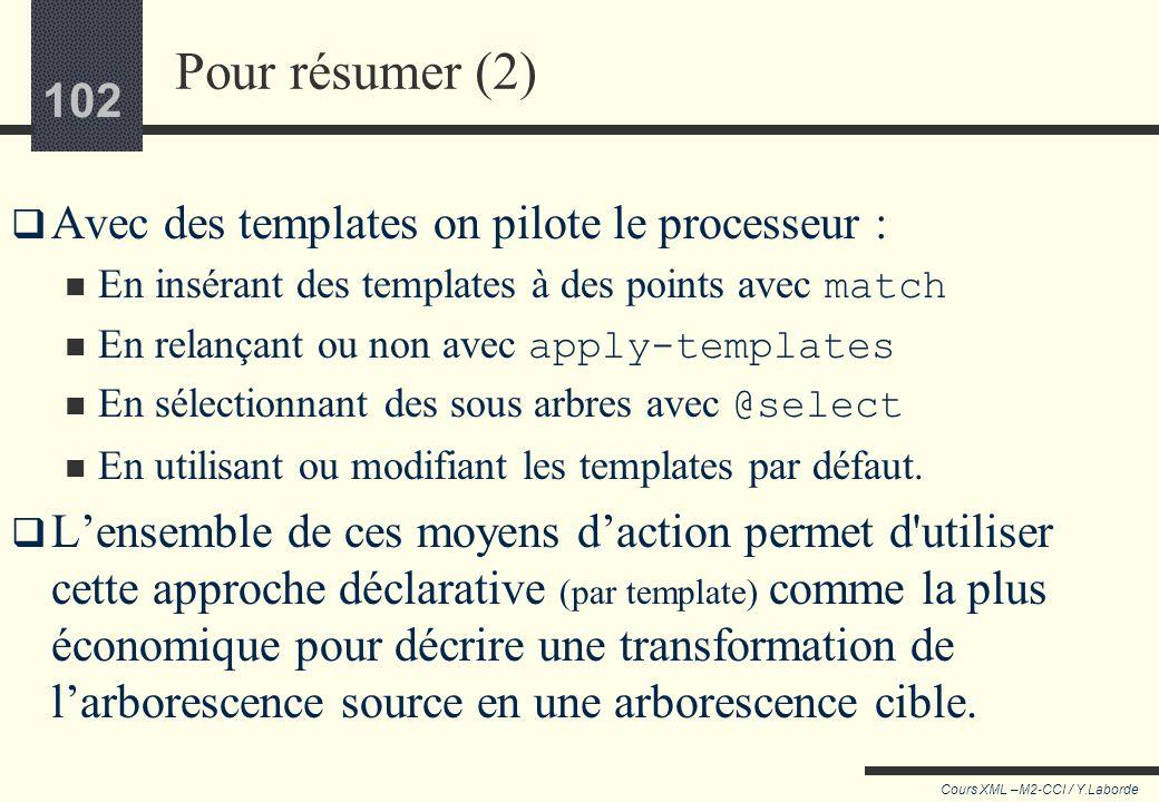 101 Cours XML –M2-CCI / Y.Laborde 101 Pour résumer (1) Le processeur parcours larborescence, piloté par des templates, qui peuvent l'arrêter à des end