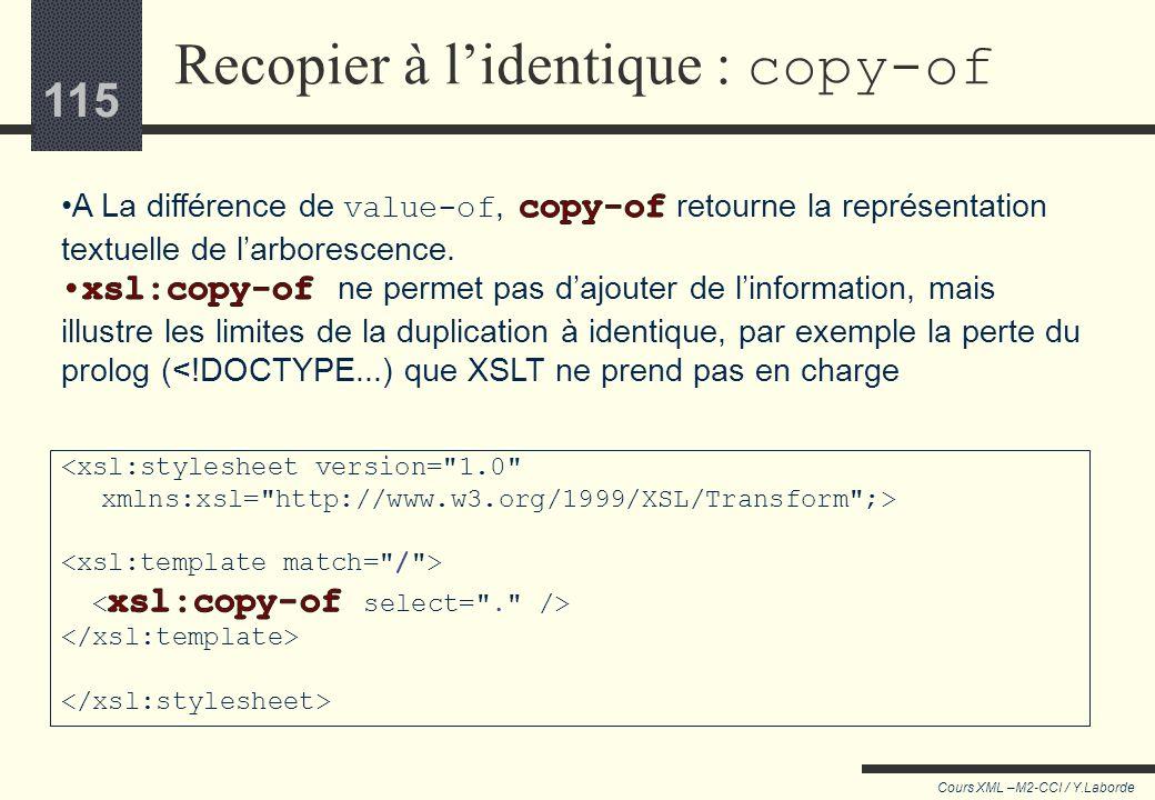 114 Cours XML –M2-CCI / Y.Laborde 114 Jusquici XSLT était utilisé pour extraire des données, pas pour éditer le corpus source. XSLT impose de nombreus