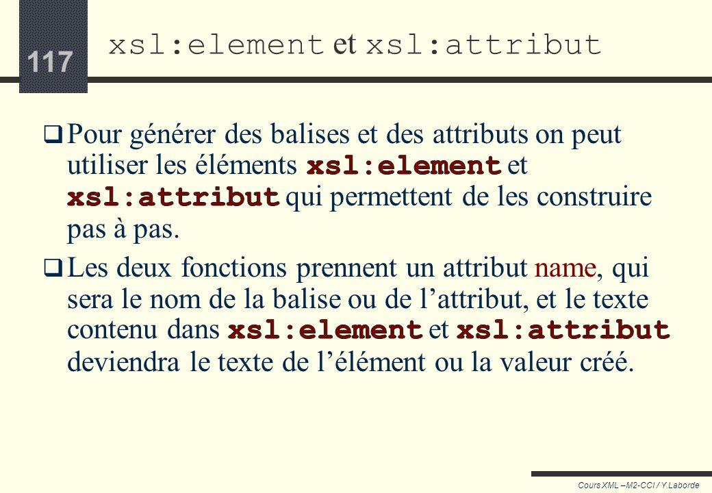 116 Cours XML –M2-CCI / Y.Laborde 116 xsl:copy <xsl:apply-templates select=