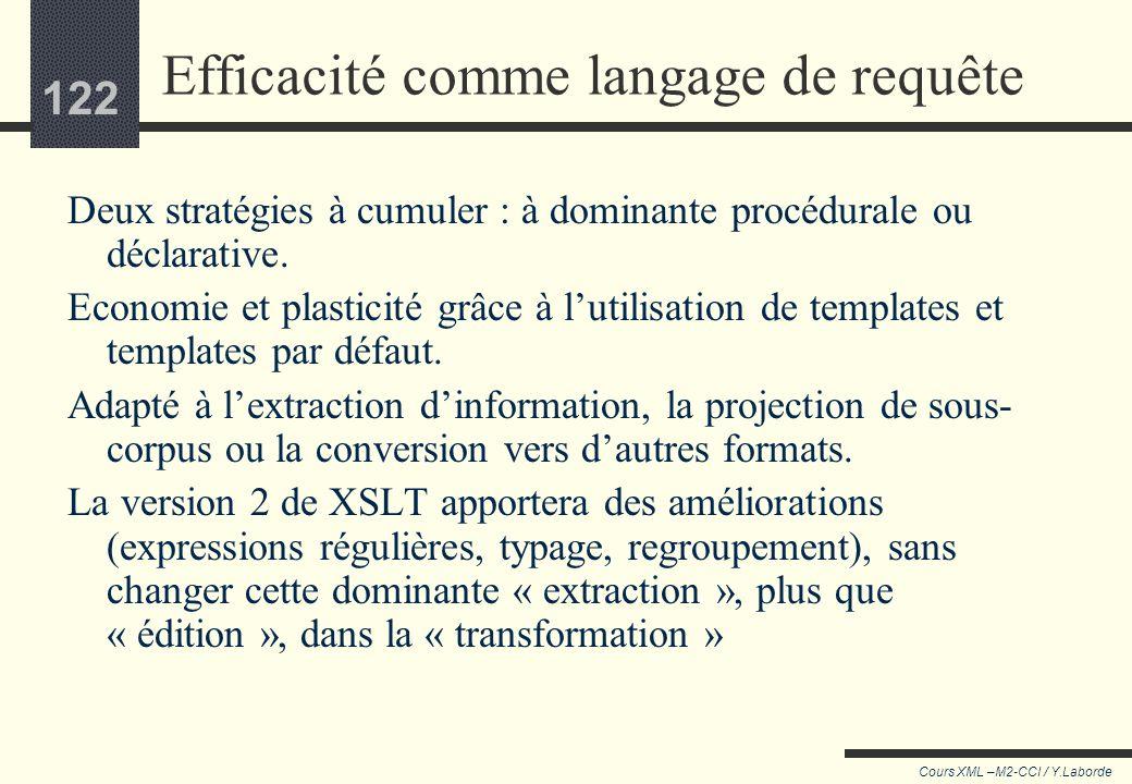 121 Cours XML –M2-CCI / Y.Laborde 121 Limites d'XSLT Délicat pour l'ajout d'annotation au corpus Délicat de contrôler complètement la réécriture Lourd