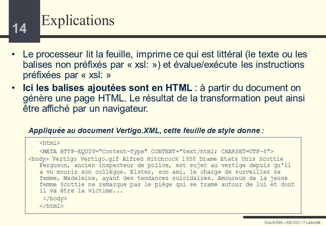 13 Cours XML –M2-CCI / Y.Laborde 13 <xsl:stylesheet version=