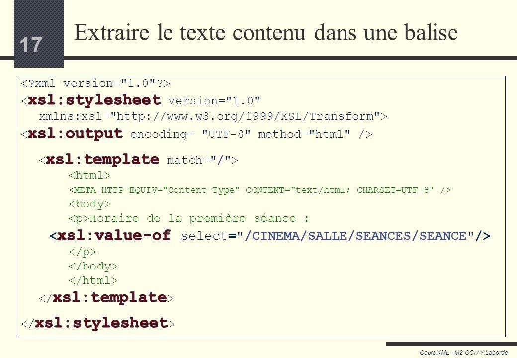 16 Cours XML –M2-CCI / Y.Laborde 16 Prenons un exemple plus complet : Epée de bois 100, rue Mouffetard Censier-Daubenton Alien Réservation conseillée