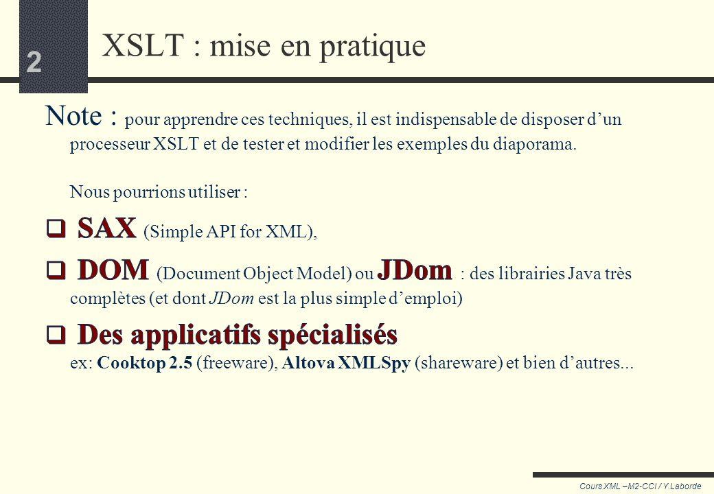 102 Cours XML –M2-CCI / Y.Laborde 102 Pour résumer (2) Avec des templates on pilote le processeur : En insérant des templates à des points avec match En relançant ou non avec apply-templates En sélectionnant des sous arbres avec @select En utilisant ou modifiant les templates par défaut.