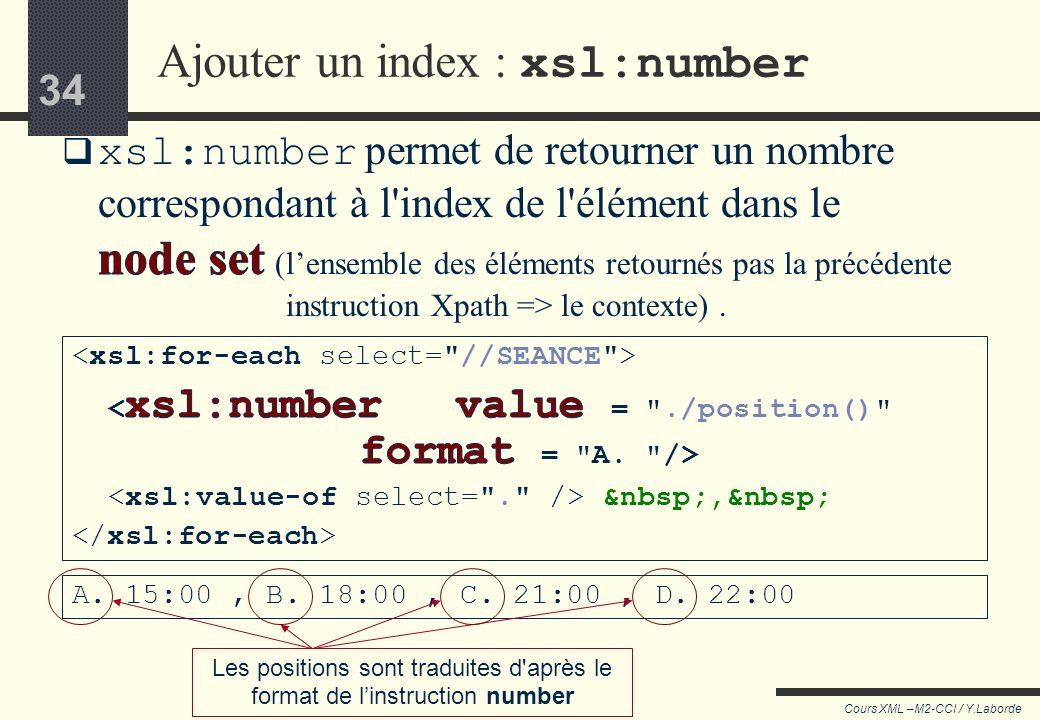 33 Cours XML –M2-CCI / Y.Laborde 33 xsl:sort (syntaxe)