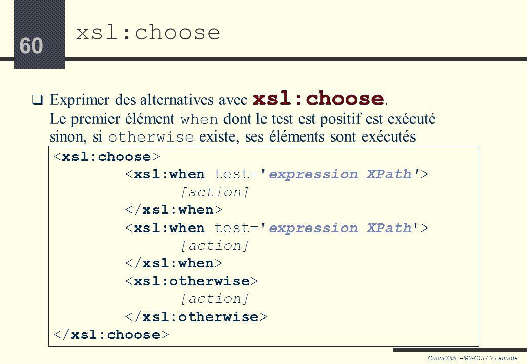 59 Cours XML –M2-CCI / Y.Laborde 59 Dans le contexte de xsl:if, XPath retourne une valeur booléenne Une expression XPath peut être utilisée avec xsl:i