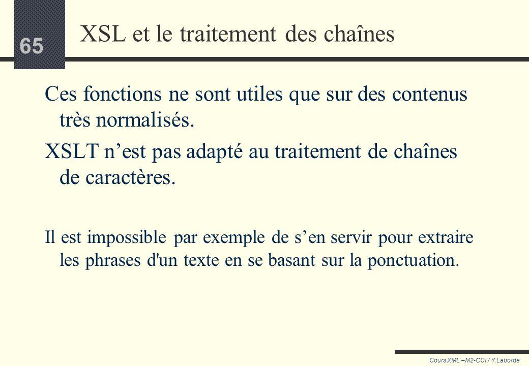 64 Cours XML –M2-CCI / Y.Laborde 64 Par exemple, on veut récupérer les éléments en italique ayant la valeur IT dans l'attribut @rend. Mais @rend peut