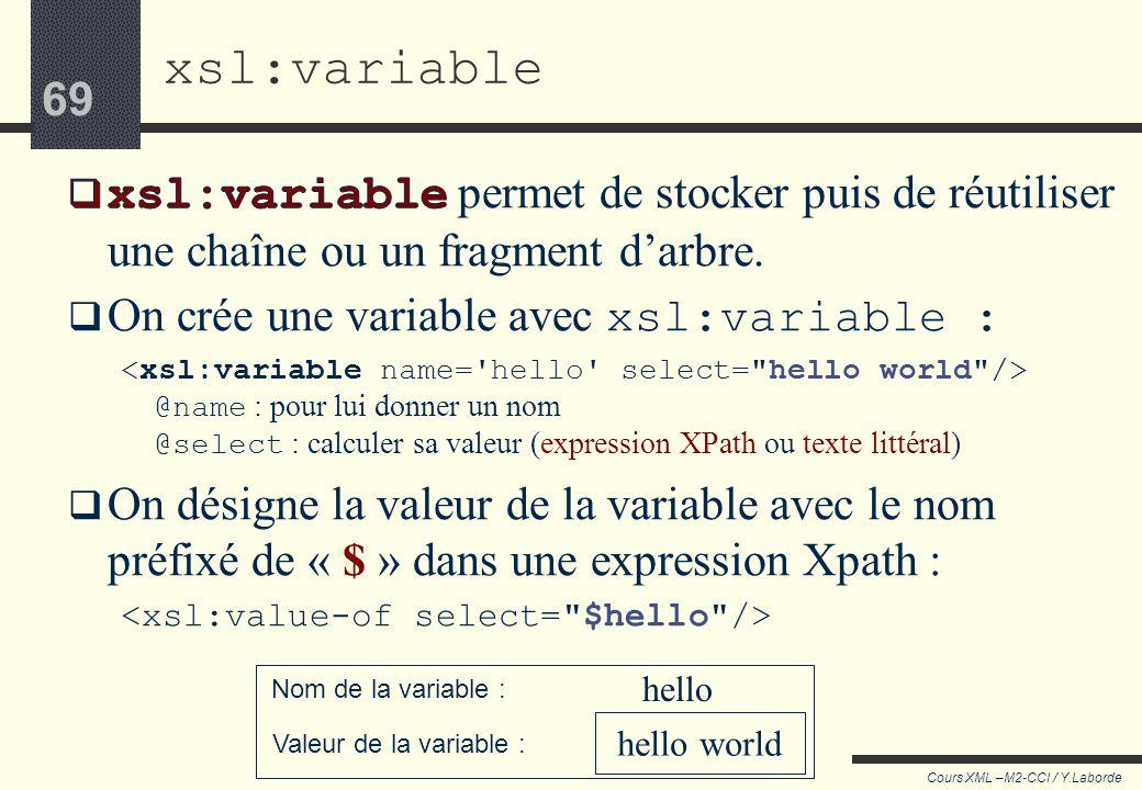 68 Cours XML –M2-CCI / Y.Laborde 68 Utiliser des variables Jusquà présent on a systématiquement mis le résultat dune expression XPath dans xsl:value-o