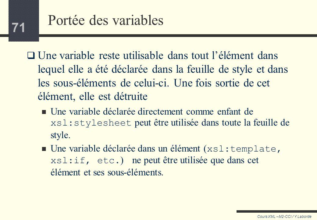 70 Cours XML –M2-CCI / Y.Laborde 70 Stocker une valeur calculée Définition de 3 variables : <xsl:variable name=
