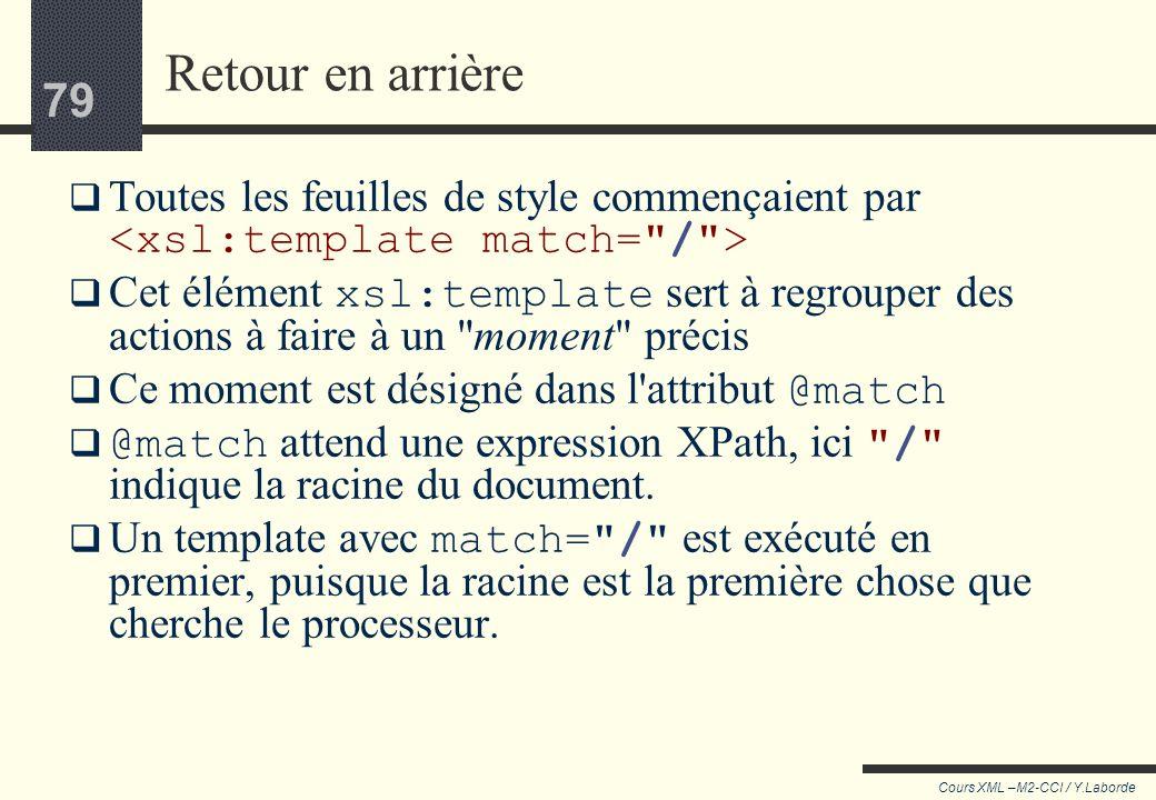 78 Cours XML –M2-CCI / Y.Laborde 78 Plutôt que de décrire des opérations, on dessine un nouvel arbre en indiquant seulement les points à modifier de l