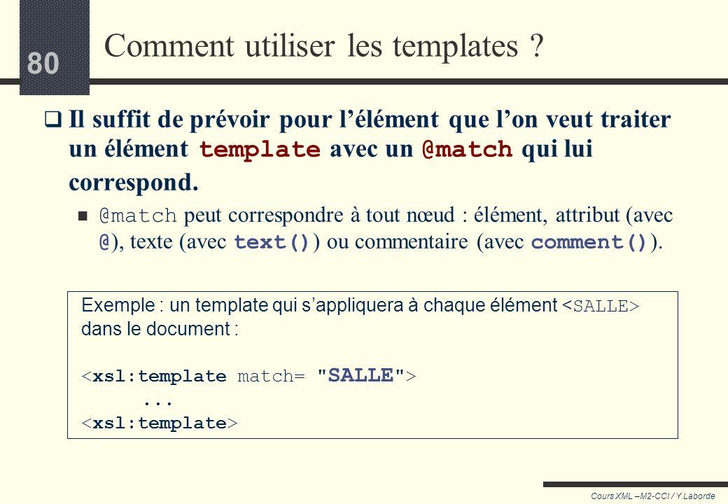 79 Cours XML –M2-CCI / Y.Laborde 79 Retour en arrière Toutes les feuilles de style commençaient par Cet élément xsl:template sert à regrouper des acti