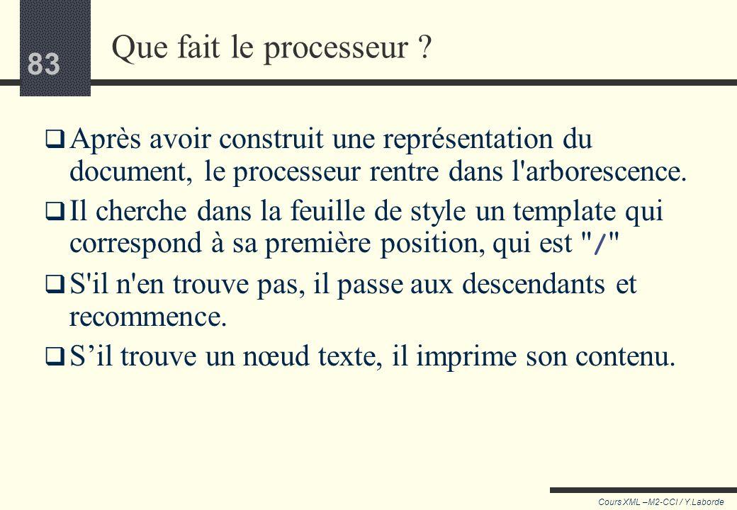 82 Cours XML –M2-CCI / Y.Laborde 82 xsl:apply-templates Dans l'exemple précédent, apply-templates sert à relancer l'analyse (la recherche d'un templat