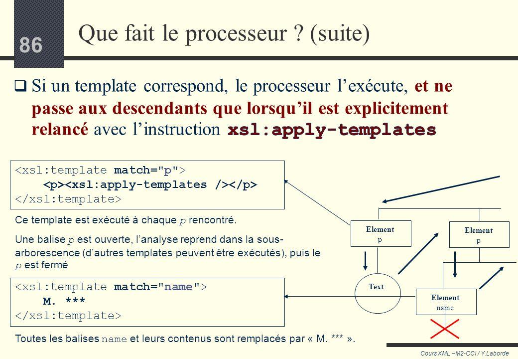 85 Cours XML –M2-CCI / Y.Laborde 85 Tant que parmi les descendants le processeur ne trouve pas de templates à appliquer, il continue à descendre dans