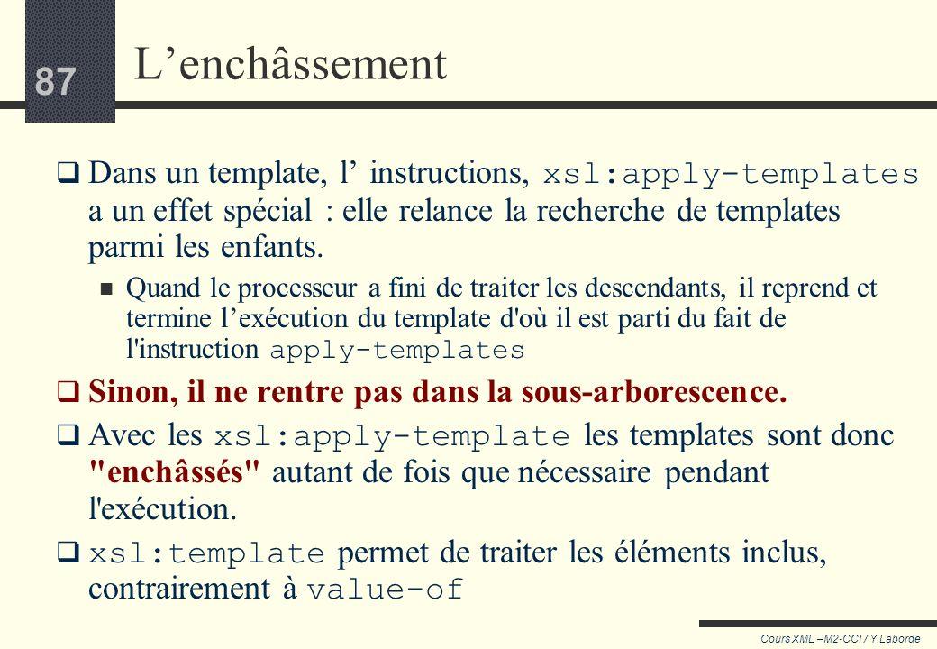86 Cours XML –M2-CCI / Y.Laborde 86 Element p Element p Text Element name Ce template est exécuté à chaque p rencontré. Une balise p est ouverte, lana