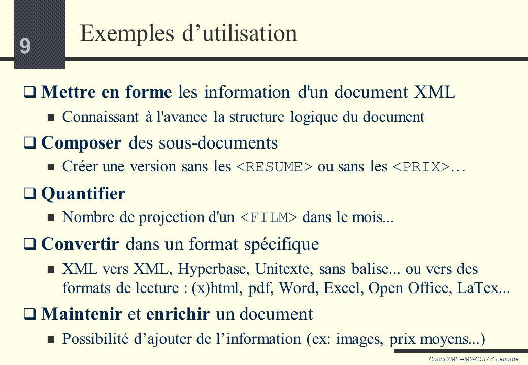 49 Cours XML –M2-CCI / Y.Laborde 49 Noter les axes On peut désigner à chaque étape d autres directions que laxe parent/enfant grâce à une « notation longue » : le note test est précédé du nom de l axe suivi de :: Exemple select= ./ancestor::div Select= ./ancestor::SALLE/TITRE following-sibling::node() | preceding-sibling::node() Recherche tous les div parmi les ascendants Sélectionne tous les nœuds descendant du même père respectivement à droite et à gauche Remonte aux SALLE ascendant, puis descend à son enfant direct TITRE En anglais : « sibling » signifie « enfant de même parent »