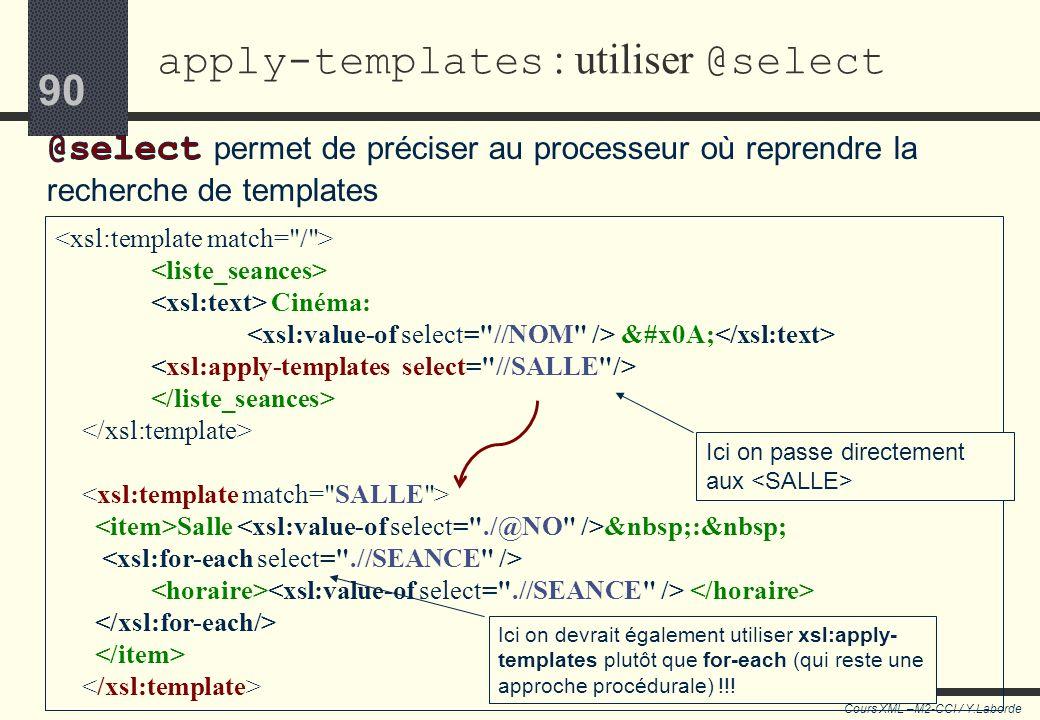 89 Cours XML –M2-CCI / Y.Laborde 89 Utilisation de xsl:apply-templates On peut mettre plusieurs xsl:apply-templates dans le même template. o Cest le c