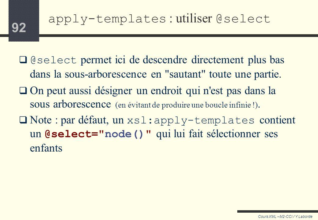 91 Cours XML –M2-CCI / Y.Laborde 91 Document transformé : Cinéma: Epée de bois Salle 1 : 15:00 18:00 21:00 Salle 2 22:00 apply-templates : utiliser @s