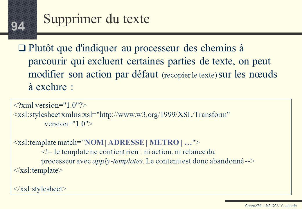 93 Cours XML –M2-CCI / Y.Laborde 93 Supprimer les balises Une feuille de style contenant ce seul template recopie le document source en enlevant toute