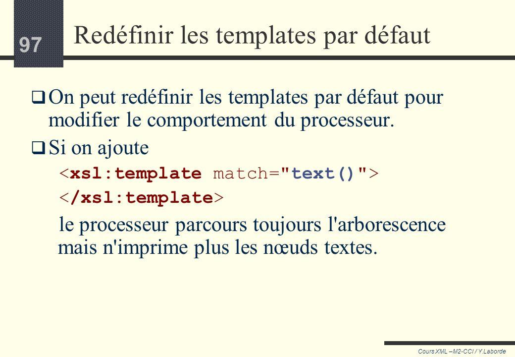 96 Cours XML –M2-CCI / Y.Laborde 96 Quand plusieurs templates peuvent sappliquer… pourquoi le processeur applique : et non le template par défaut :, a