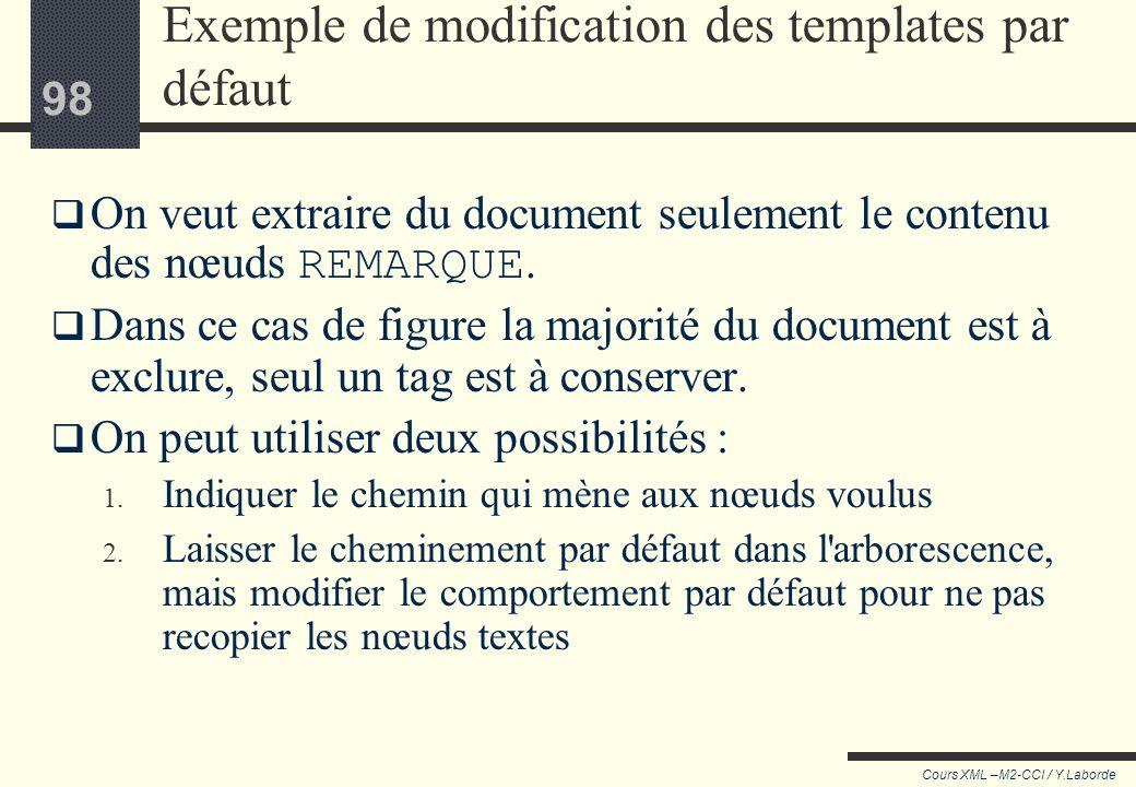 97 Cours XML –M2-CCI / Y.Laborde 97 Redéfinir les templates par défaut On peut redéfinir les templates par défaut pour modifier le comportement du pro