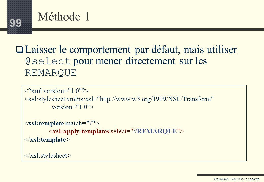 98 Cours XML –M2-CCI / Y.Laborde 98 Exemple de modification des templates par défaut On veut extraire du document seulement le contenu des nœuds REMAR