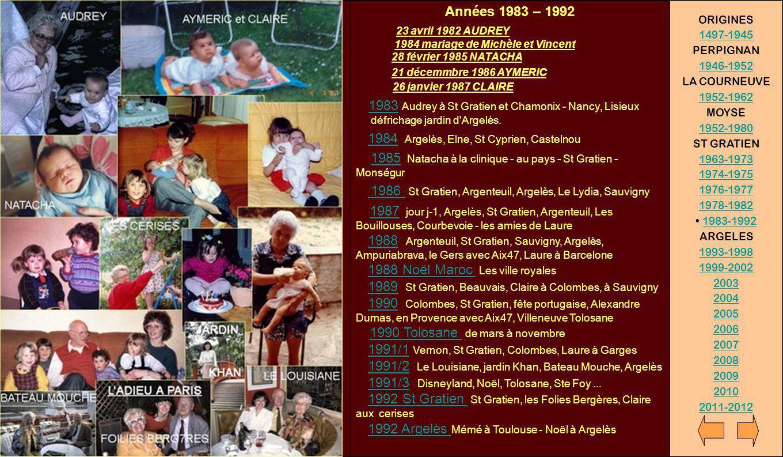 Années 1983 – 1992 23 avril 1982 AUDREY 1984 mariage de Michèle et Vincent 28 février 1985 NATACHA 21 décemmbre 1986 AYMERIC 26 janvier 1987 CLAIRE 19