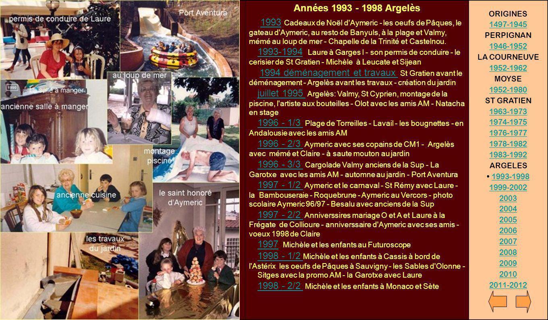 Années 1993 - 1998 Argelès 1993 Cadeaux de Noël d'Aymeric - les oeufs de Pâques, le gateau d'Aymeric, au resto de Banyuls, à la plage et Valmy, mémé a
