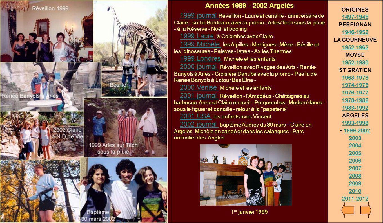 Années 1999 - 2002 Argelès 1999 journal Réveillon - Laure et canaille - anniversaire de Claire - sortie Bordeaux avec la promo - Arles/Tech sous la pl