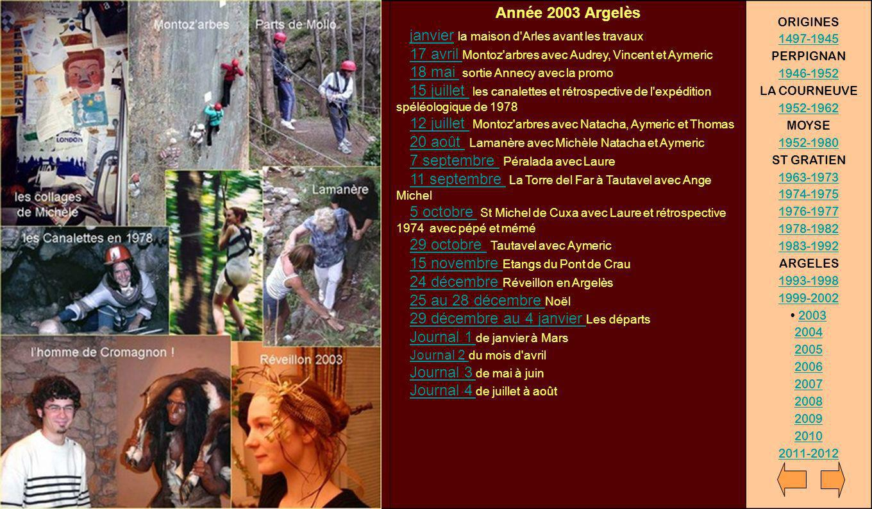 Année 2003 Argelès janvier la maison d'Arles avant les travaux 17 avril Montoz'arbres avec Audrey, Vincent et Aymeric 18 mai sortie Annecy avec la pro