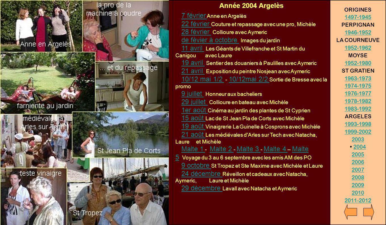 Année 2004 Argelès 7 février Anne en Argelès 22 février Couture et repassage avec une pro, Michèle 28 février Collioure avec Aymeric de févier à octob