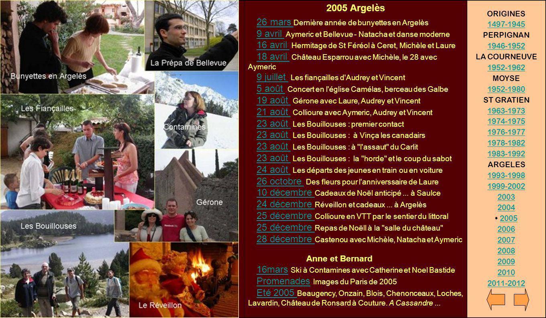 2005 Argelès 26 mars Dernière année de bunyettes en Argelès 9 avril Aymeric et Bellevue - Natacha et danse moderne 16 avril Hermitage de St Féréol à C