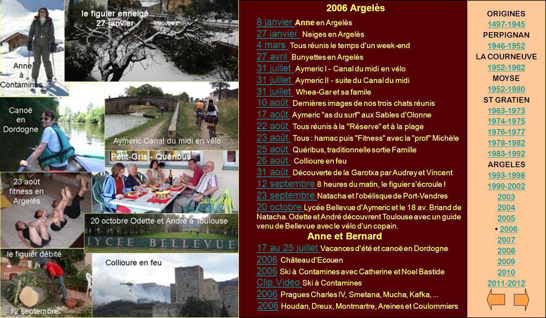 2006 Argelès 8 janvier Anne en Argelès 27 janvier Neiges en Argelès 4 mars Tous réunis le temps d'un week-end 27 avril Bunyettes en Argelès 31 juillet