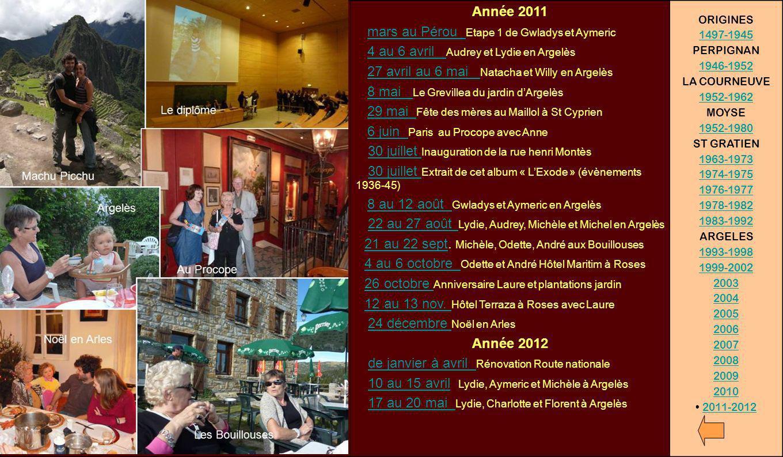 Année 2011 mars au Pérou Etape 1 de Gwladys et Aymericmars au Pérou 4 au 6 avril Audrey et Lydie en Argelès4 au 6 avril 27 avril au 6 mai Natacha et W