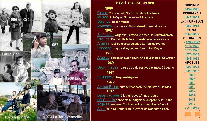 1963 à 1973 St Gratien 1966 Grèce Vacances de Noël avec Michèle et Anne Musée Achaïque d'Athènes sur l'Acropole Delphes et son musée Mycènes Epidaure
