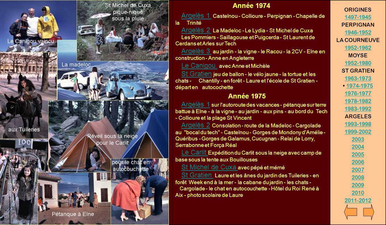 Année 1974 Argelès 1 Castelnou - Collioure - Perpignan - Chapelle de la Trinité Argelès 2 La Madeloc - Le Lydia - St Michel de Cuxa Les Pommiers - Sai