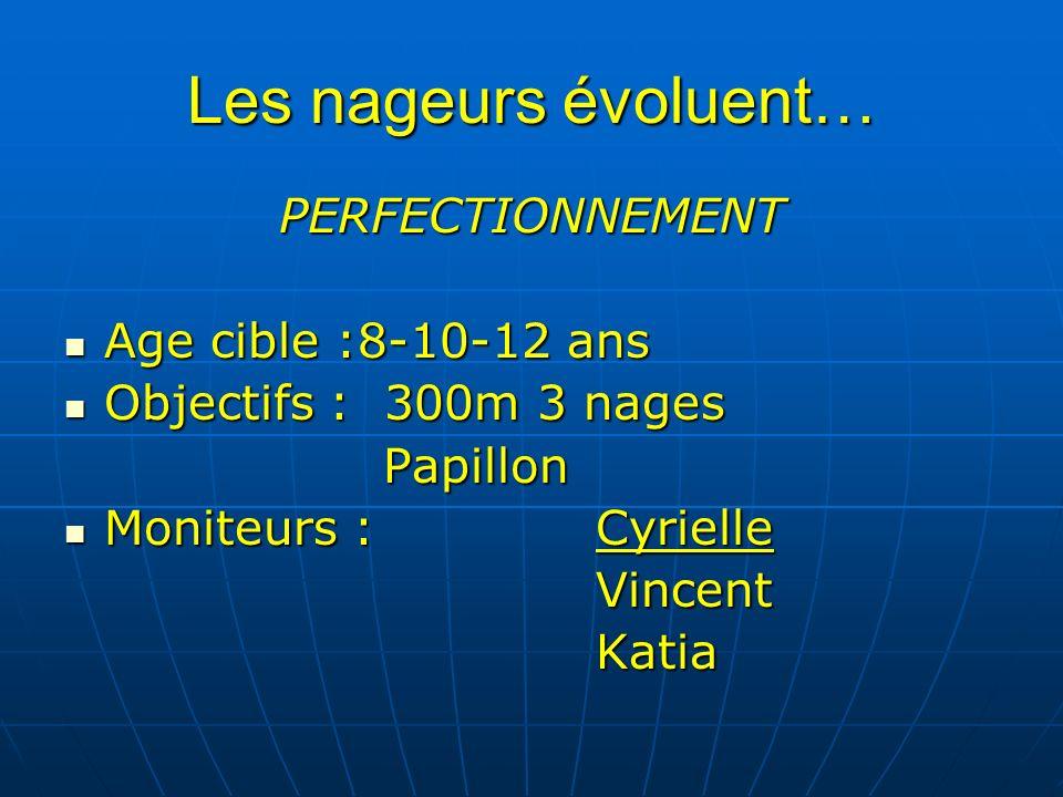 Les nageurs évoluent… PERFECTIONNEMENT Age cible :8-10-12 ans Age cible :8-10-12 ans Objectifs : 300m 3 nages Objectifs : 300m 3 nagesPapillon Moniteurs :Cyrielle Moniteurs :CyrielleVincentKatia