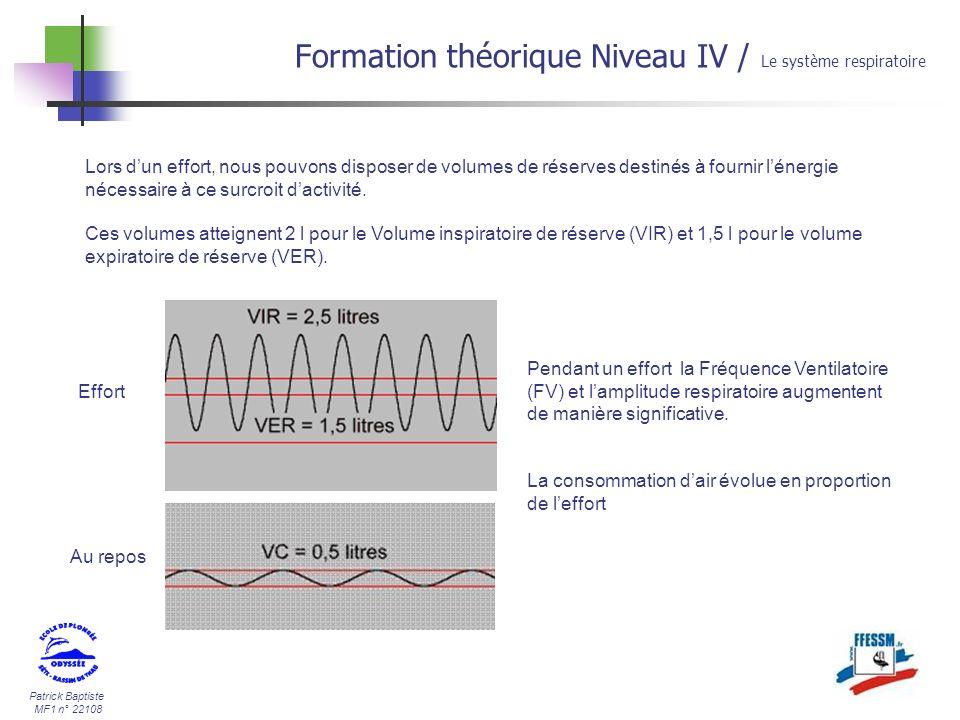 Patrick Baptiste MF1 n° 22108 Formation théorique Niveau IV / Le système respiratoire Lors dun effort, nous pouvons disposer de volumes de réserves de