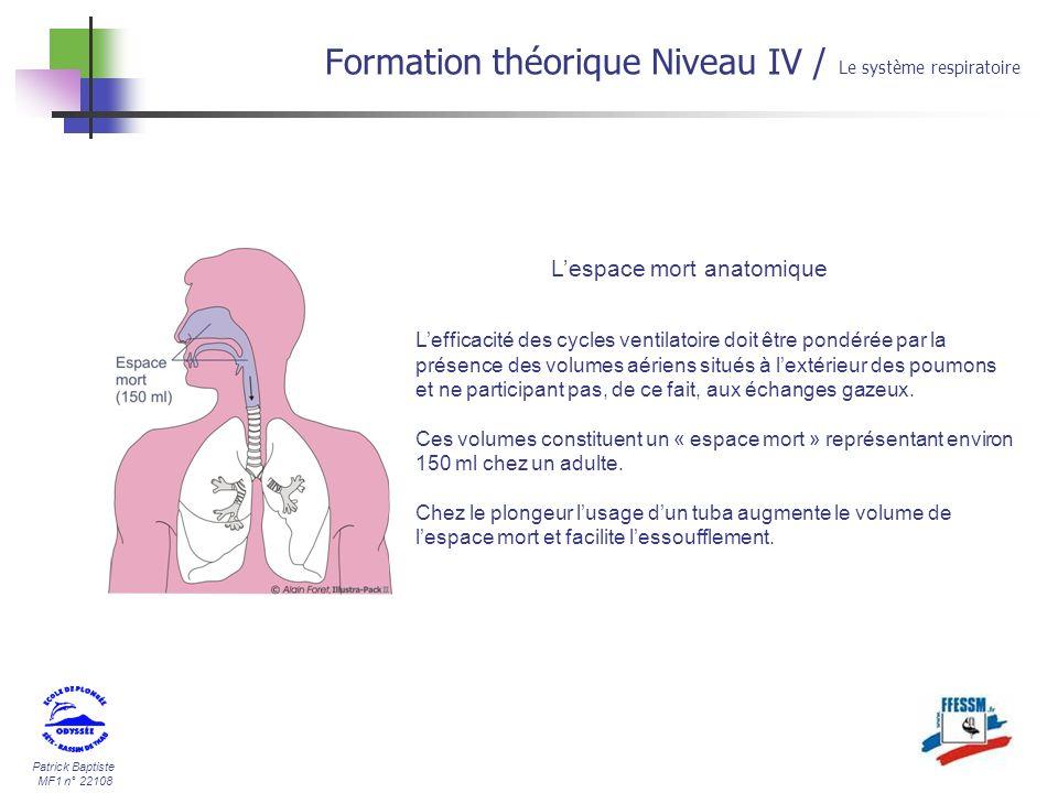 Patrick Baptiste MF1 n° 22108 Formation théorique Niveau IV / Le système respiratoire Lespace mort anatomique Lefficacité des cycles ventilatoire doit