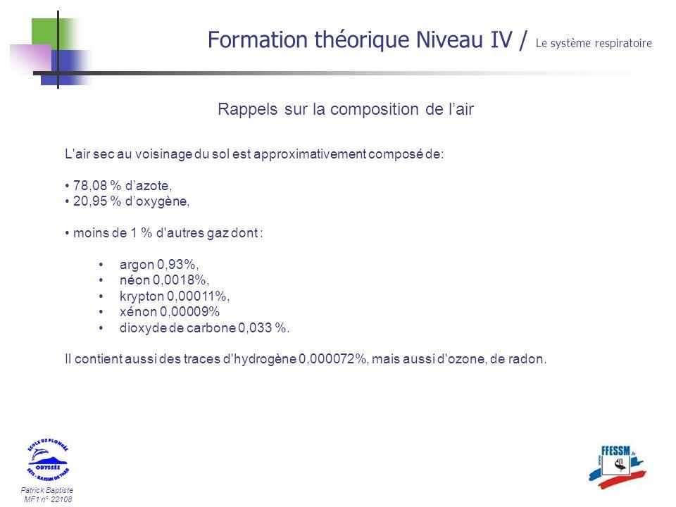 Patrick Baptiste MF1 n° 22108 Rappels sur la composition de lair Formation théorique Niveau IV / Le système respiratoire L'air sec au voisinage du sol