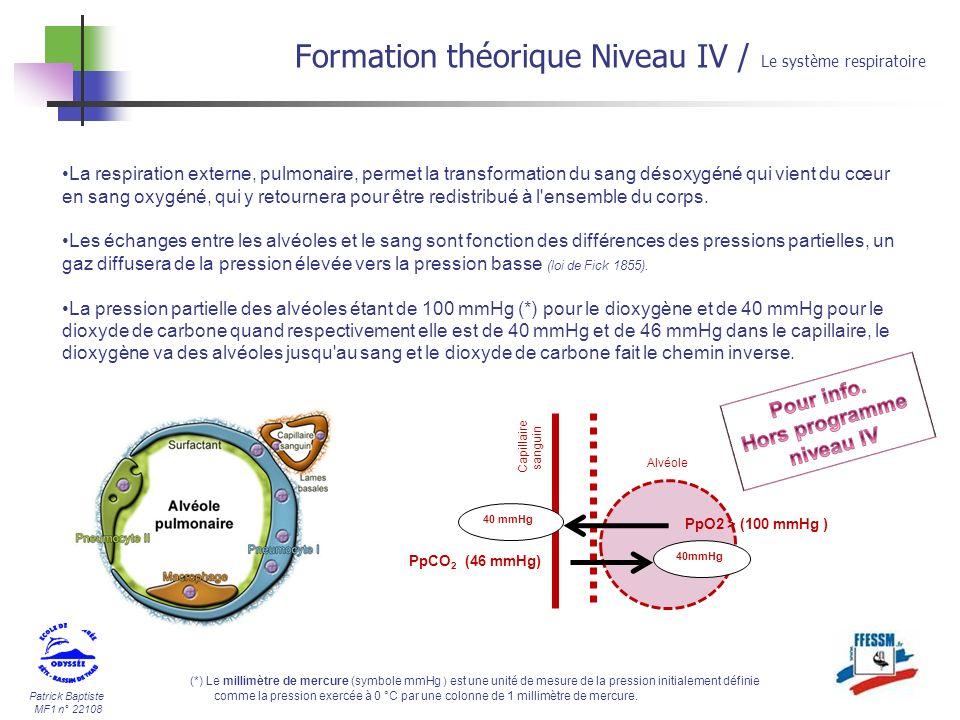 Patrick Baptiste MF1 n° 22108 Formation théorique Niveau IV / Le système respiratoire La respiration externe, pulmonaire, permet la transformation du