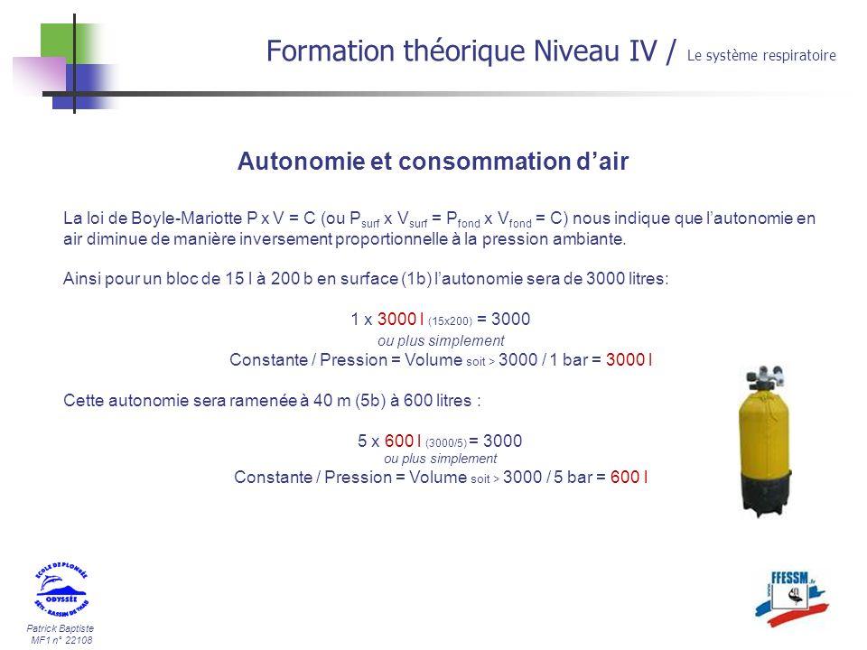 Patrick Baptiste MF1 n° 22108 Autonomie et consommation dair Formation théorique Niveau IV / Le système respiratoire La loi de Boyle-Mariotte P x V =