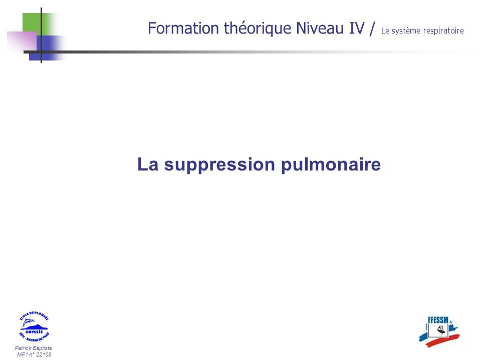 Patrick Baptiste MF1 n° 22108 La suppression pulmonaire Formation théorique Niveau IV / Le système respiratoire