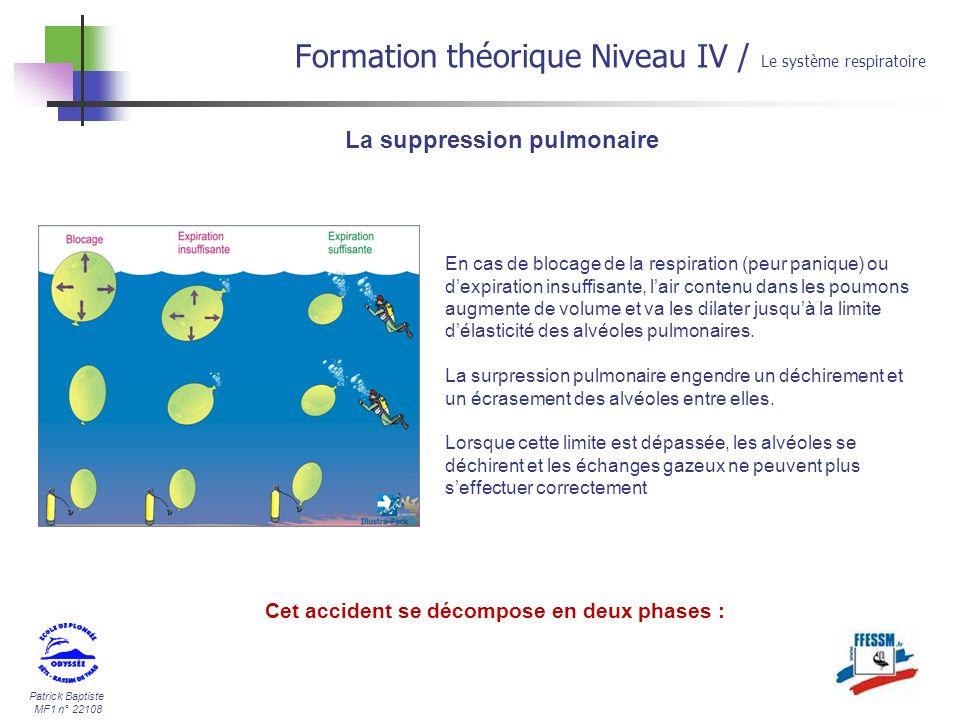 Patrick Baptiste MF1 n° 22108 La suppression pulmonaire Formation théorique Niveau IV / Le système respiratoire En cas de blocage de la respiration (p