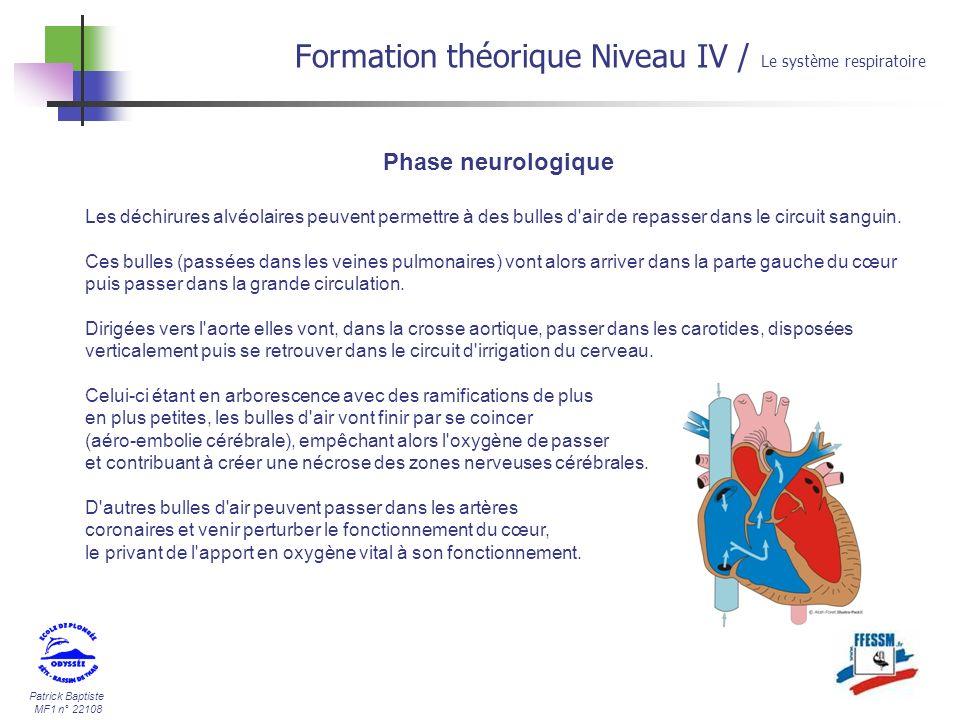 Patrick Baptiste MF1 n° 22108 Formation théorique Niveau IV / Le système respiratoire Phase neurologique Les déchirures alvéolaires peuvent permettre
