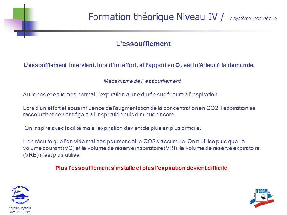 Patrick Baptiste MF1 n° 22108 Lessoufflement Formation théorique Niveau IV / Le système respiratoire Lessoufflement intervient, lors dun effort, si la