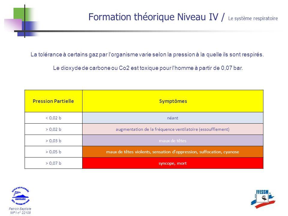 Patrick Baptiste MF1 n° 22108 Formation théorique Niveau IV / Le système respiratoire La tolérance à certains gaz par l'organisme varie selon la press