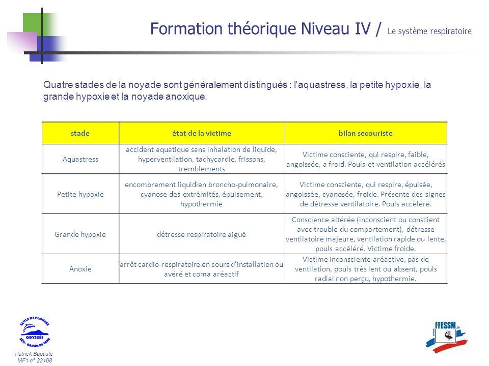 Patrick Baptiste MF1 n° 22108 Formation théorique Niveau IV / Le système respiratoire Quatre stades de la noyade sont généralement distingués : l'aqua