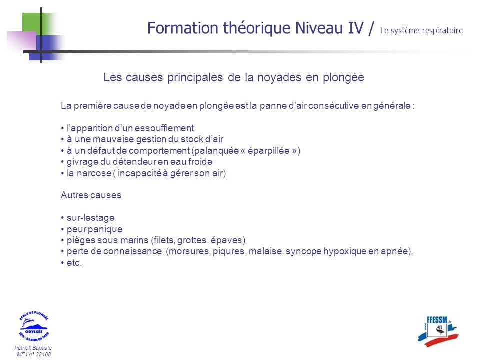 Patrick Baptiste MF1 n° 22108 Les causes principales de la noyades en plongée Formation théorique Niveau IV / Le système respiratoire La première caus