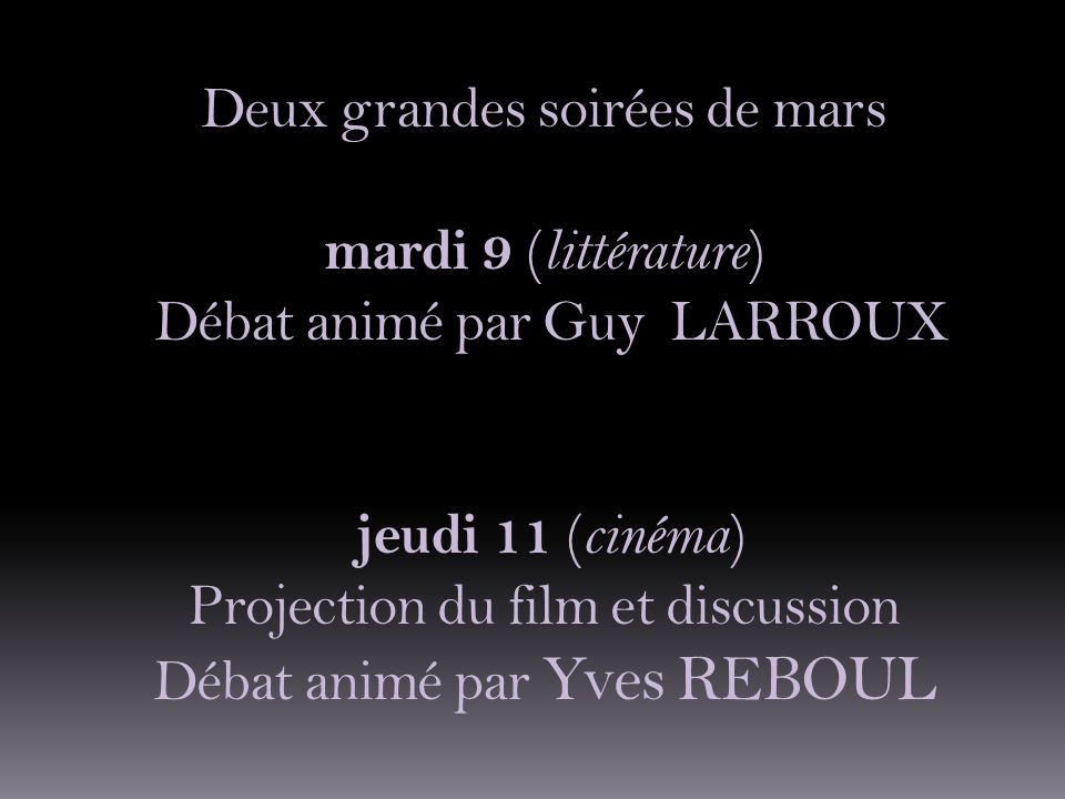 Vous viendrez également prolonger ce débat avec la projection du film de Jean Renoir Jeudi 11 mars à 20h30 au cinéma Ecran7